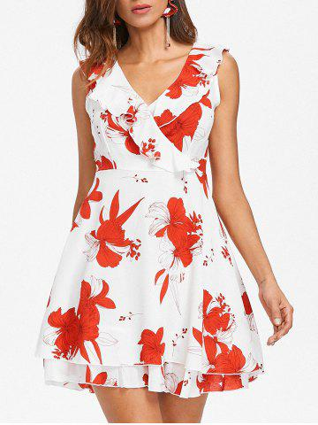 Hot Ruffle Insert Floral Print A Line Dress