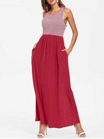 Discount Striped Panel Sleeveless Floor Length Dress