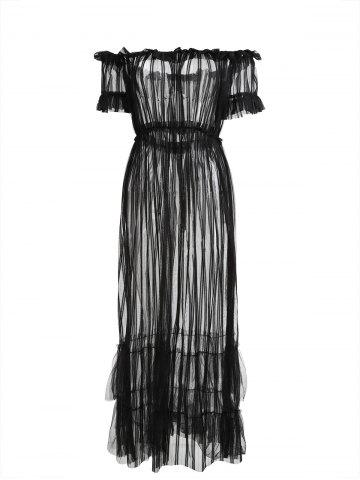 Fashion See Through Mesh Off Shoulder Cover Up Dress