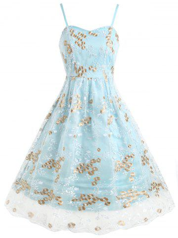 Floral Embroidered Mesh Panel Swing Dress