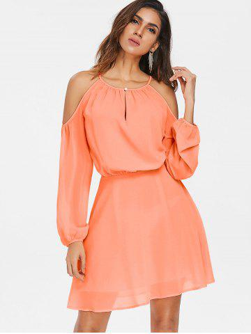 Shoulder Cut Chiffon Blouson Dress