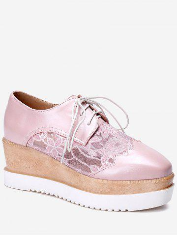 Plus Size Scallop Lace Up Wedge Shoes - PINK - 37