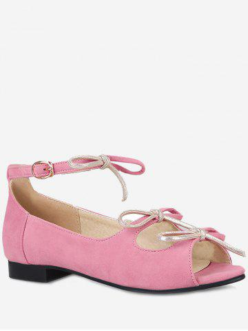 Plus Size Cut Out Peep Toe Bow Flat Heel Sandals - CARNATION PINK - 38