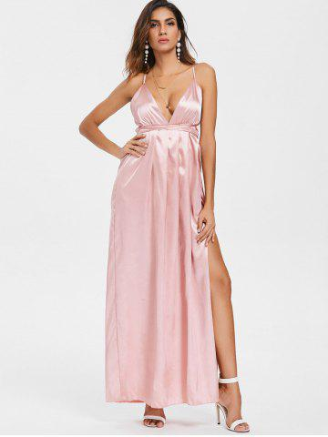 Deep V Open Back High Slit Maxi Dress