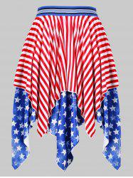 High Waist American Flag Handkerchief Skirt -