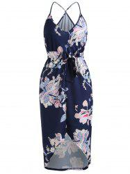 Floral Print High Low Midi Dress with Pocket -