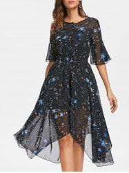 Stars Print Chiffon Midi Handkerchief Dress -