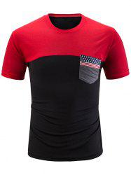 Stars and Stripes Print Contrast Color T-shirt -