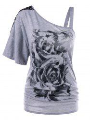 Plus Size Floral Skew Collar T-shirt -