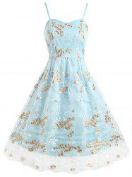 Floral Embroidered Mesh Panel Swing Dress -