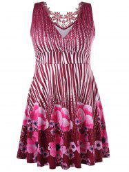 Plus Size Floral Sleeveless Surplice Dress -
