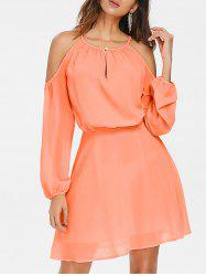 Shoulder Cut Chiffon Blouson Dress -