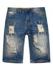 Distressed Faded Wash Zipper Fly Jean Shorts -