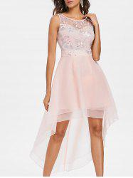 Floral Embroidery Mesh Layered Asymmetric Dress -