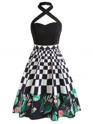 Checked Cactus Print Halter Neckline Vintage Dress -