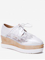 Plus Size Scallop Lace Up Wedge Shoes -