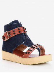 Plus Size Ankle Strap Studs Buckled Thong Sandals -