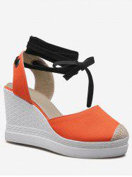 Plus Size Lace Up Espadrille Chic Wedge Shoes -