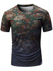 Digital Camo Print Crew Neck T-shirt -