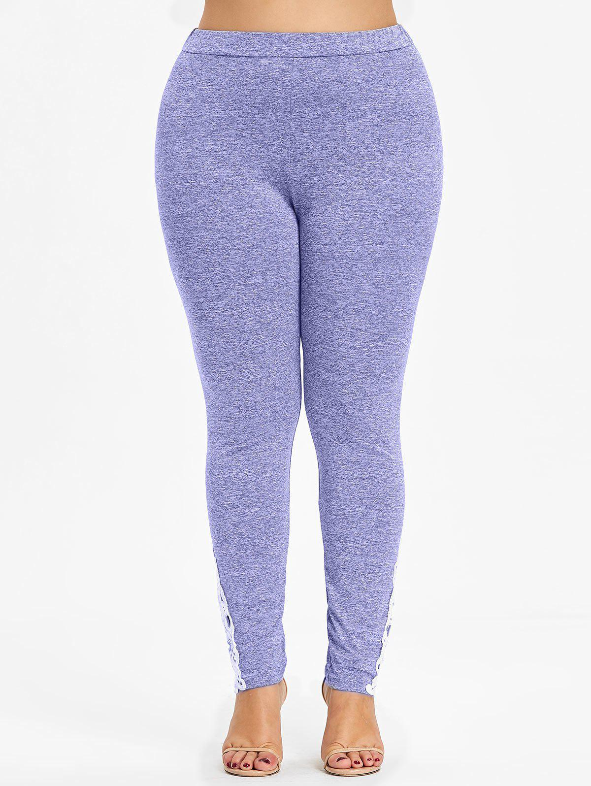 Online Crochet Lace Bottom Plus Size Leggings