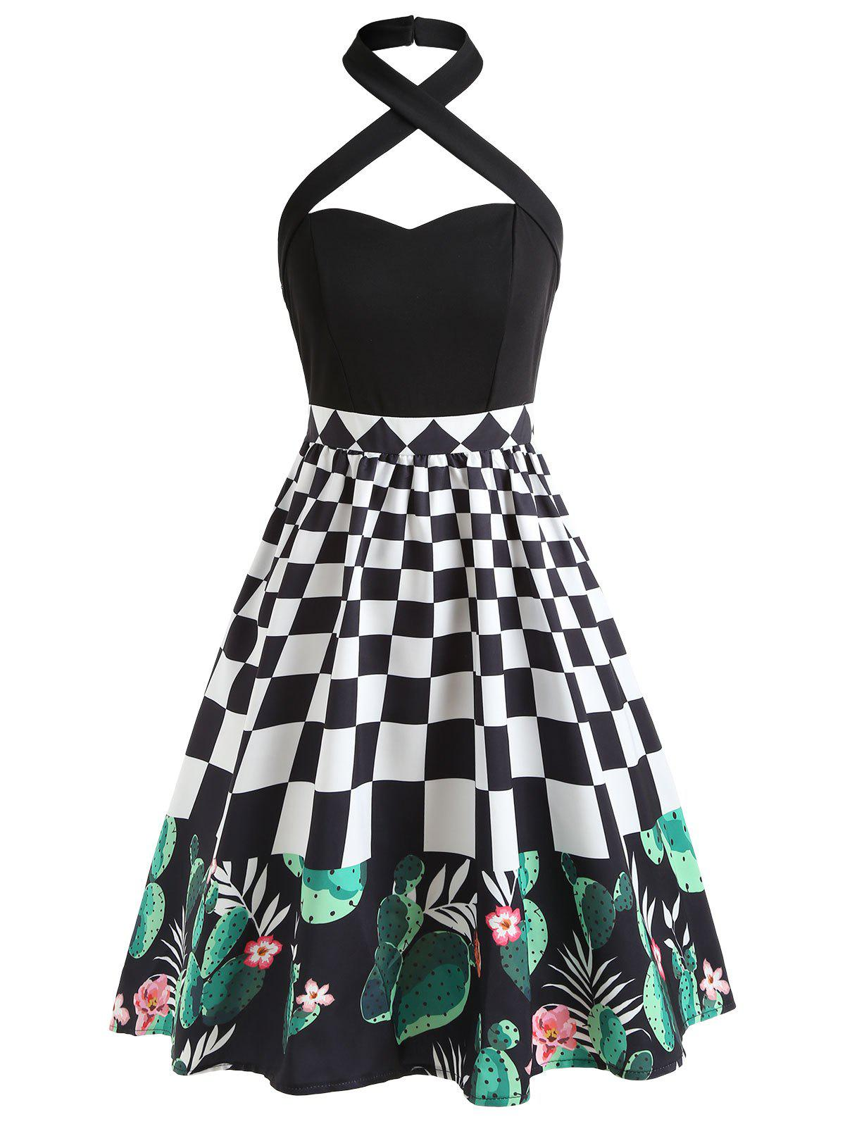 Buy Checked Cactus Print Halter Neckline Vintage Dress