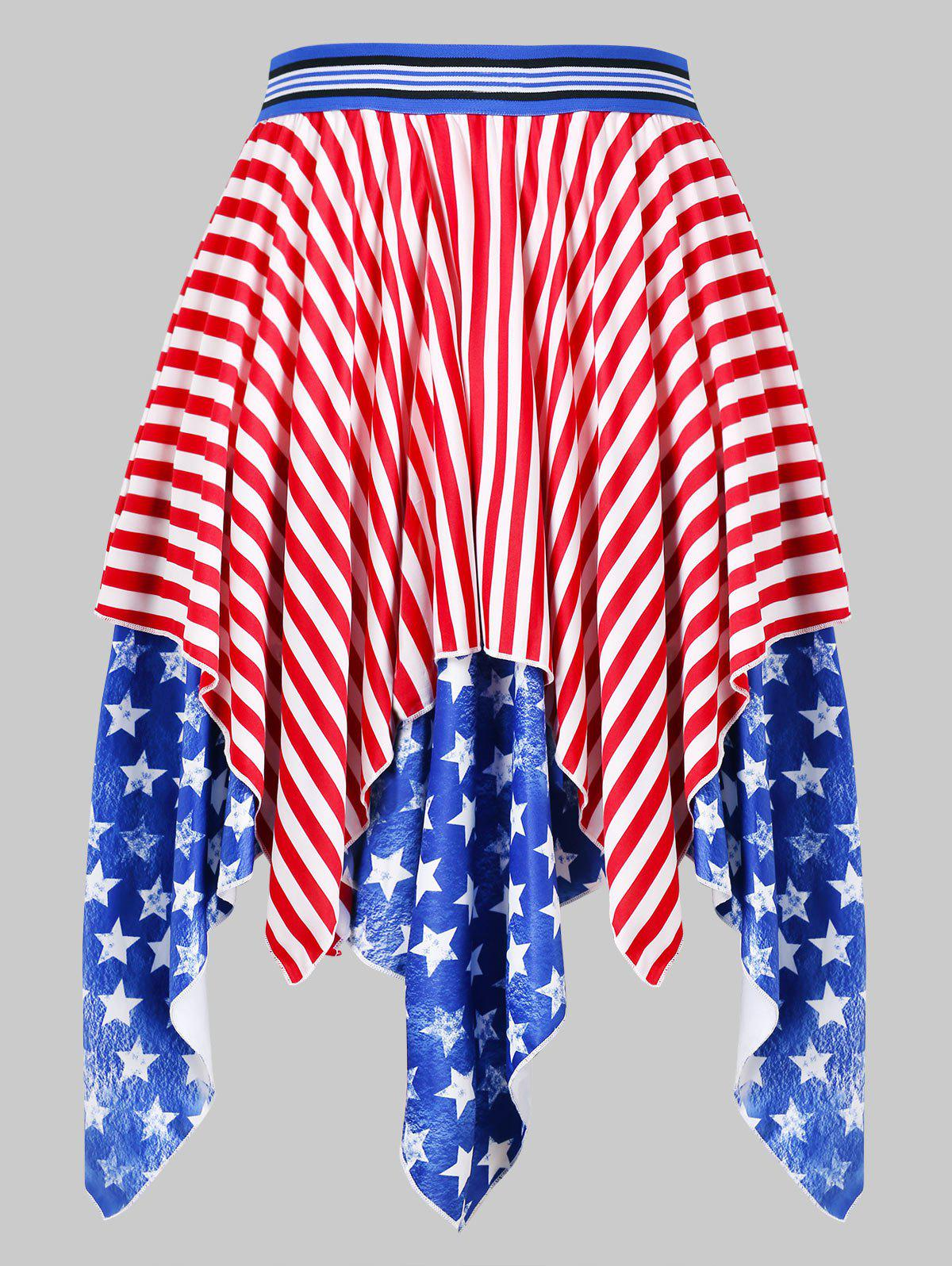 Hot High Waist American Flag Handkerchief Skirt