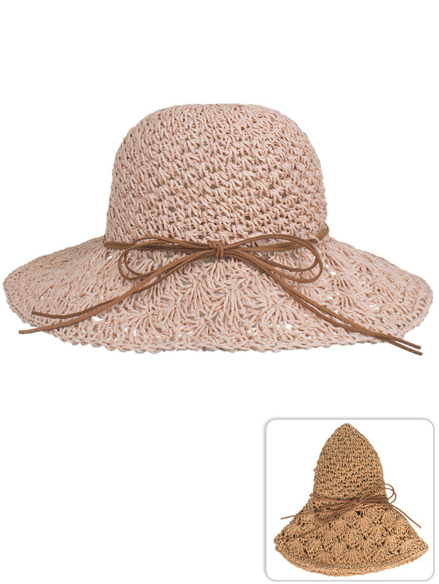 Trendy Vintage Bowknot Hand Knitting Sun Hat