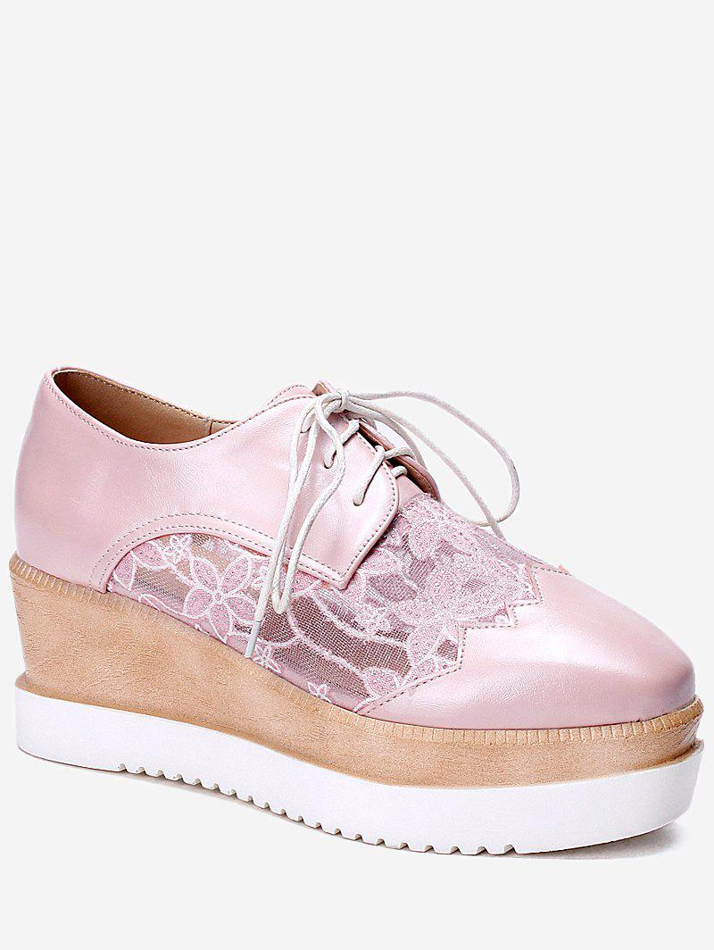 Chic Plus Size Scallop Lace Up Wedge Shoes