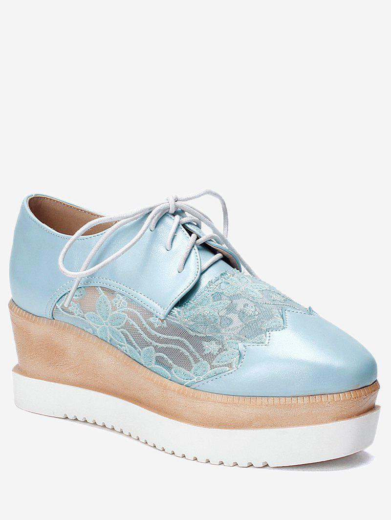 Online Plus Size Scallop Lace Up Wedge Shoes
