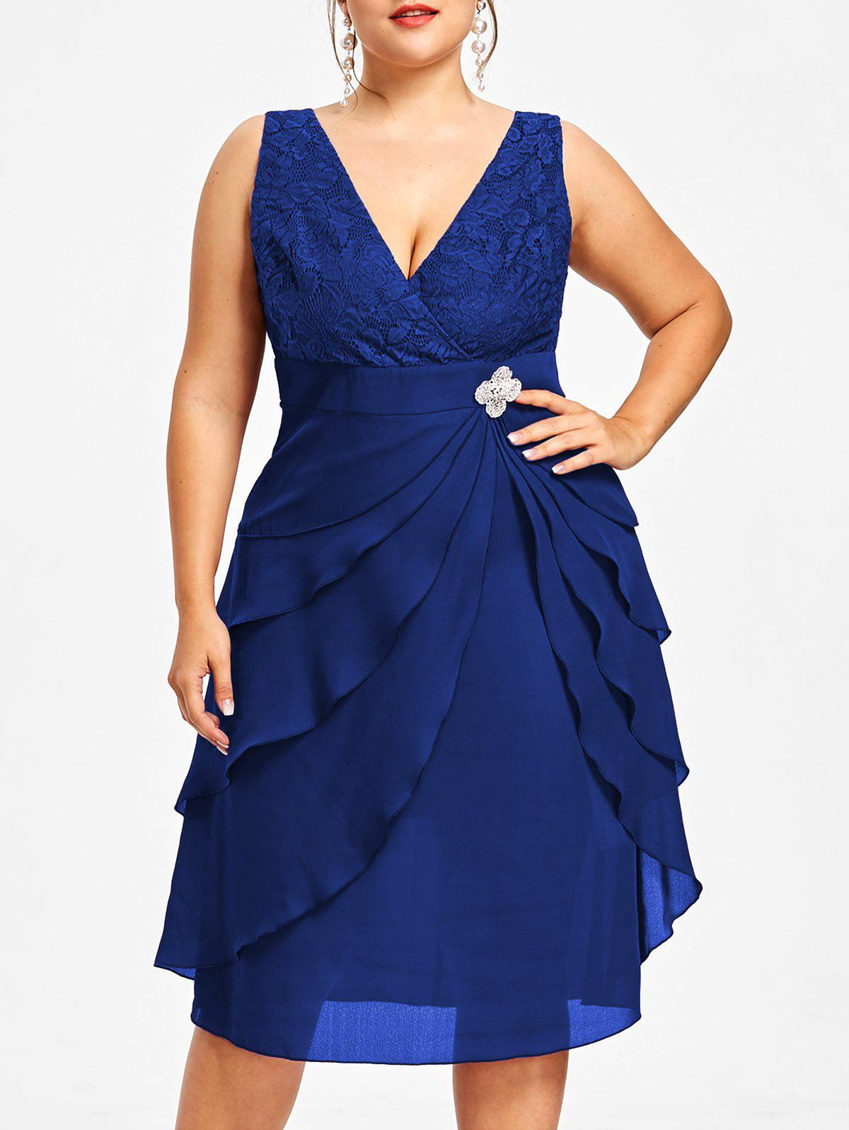 Fashion Plus Size Lace Trim Tiered Dress with Brooch