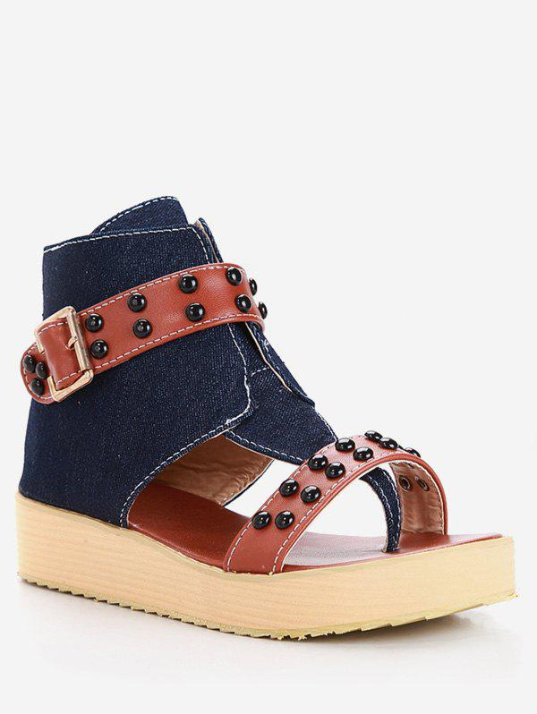Chic Plus Size Ankle Strap Studs Buckled Thong Sandals
