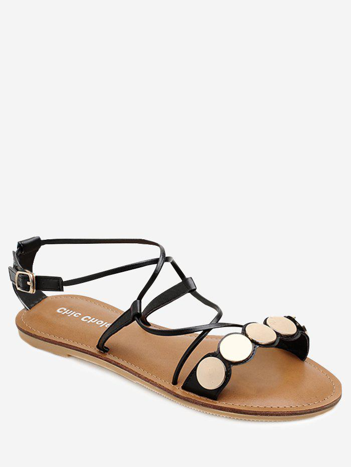 Outfit Coins Decor Cross Strap Flat Shoes