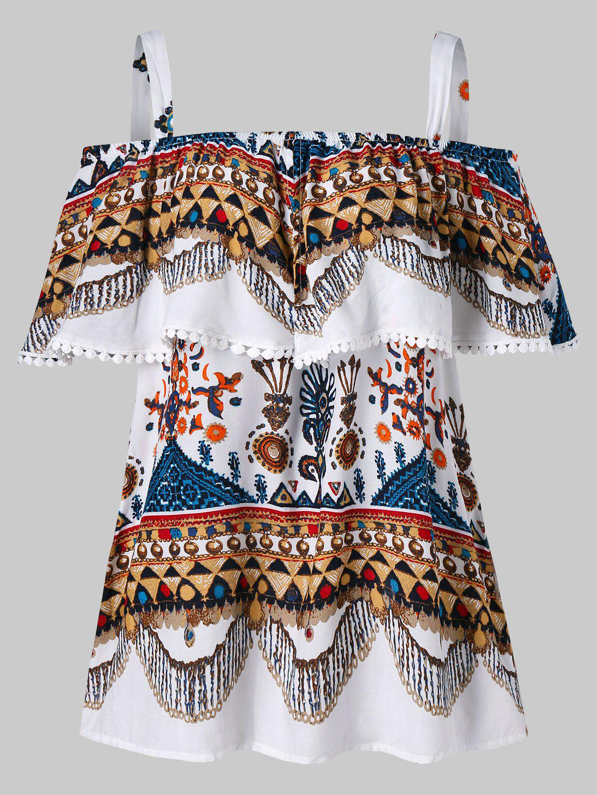 Outfits Open Shoulder Ruffle Tribal Print Blouse