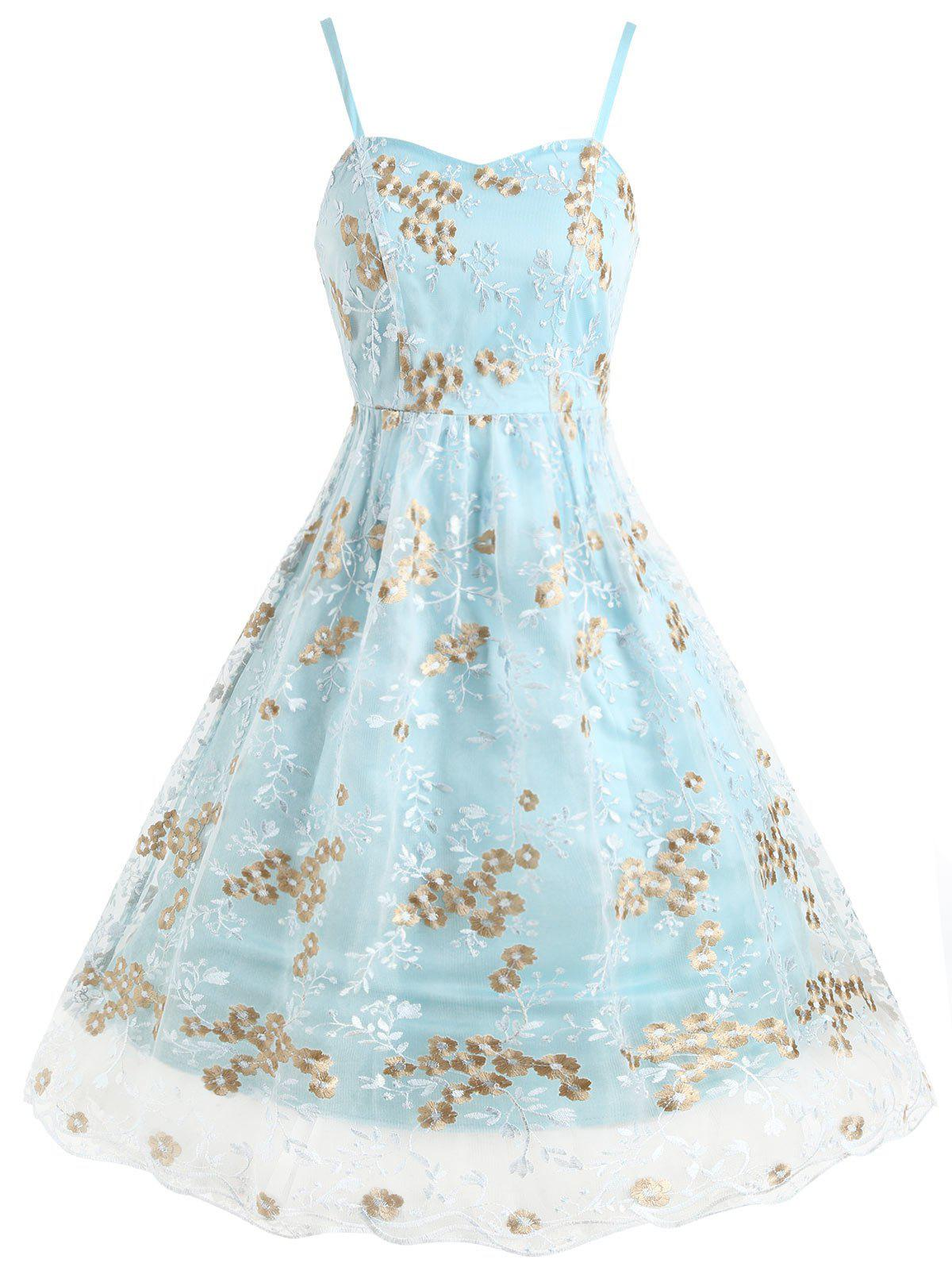Fashion Floral Embroidered Mesh Panel Swing Dress