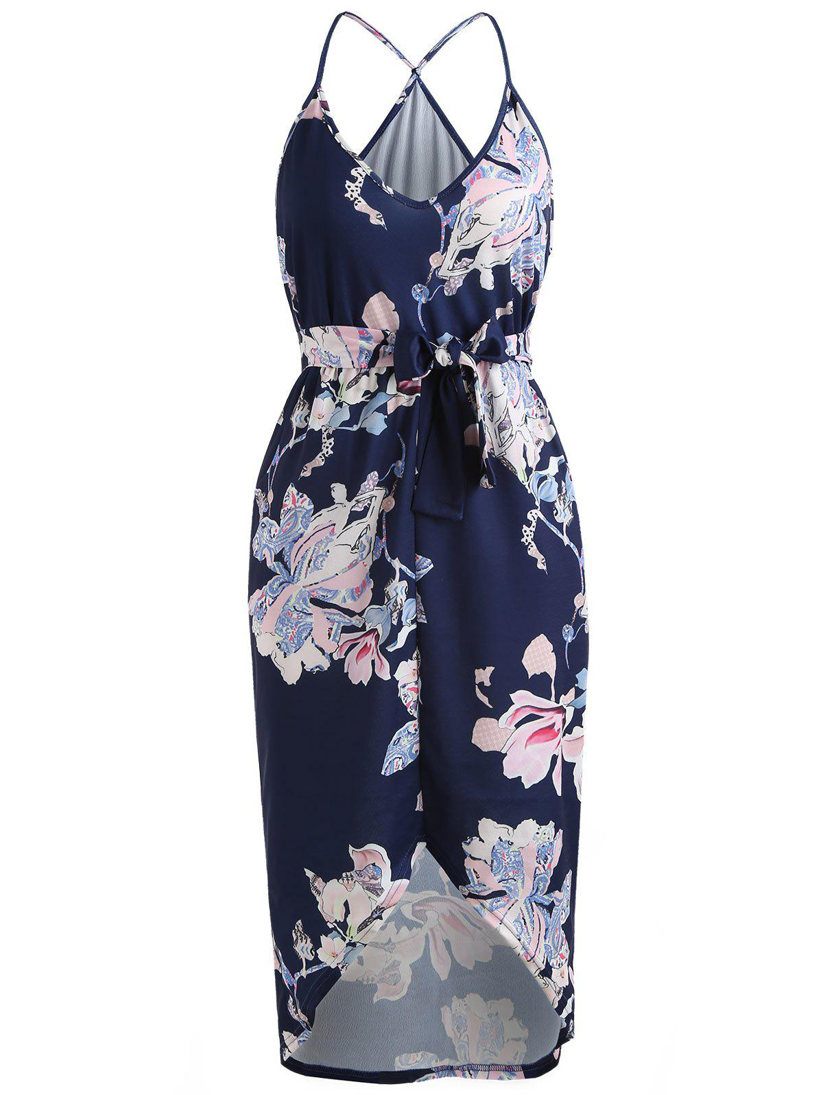 Hot Floral Print High Low Midi Dress with Pocket