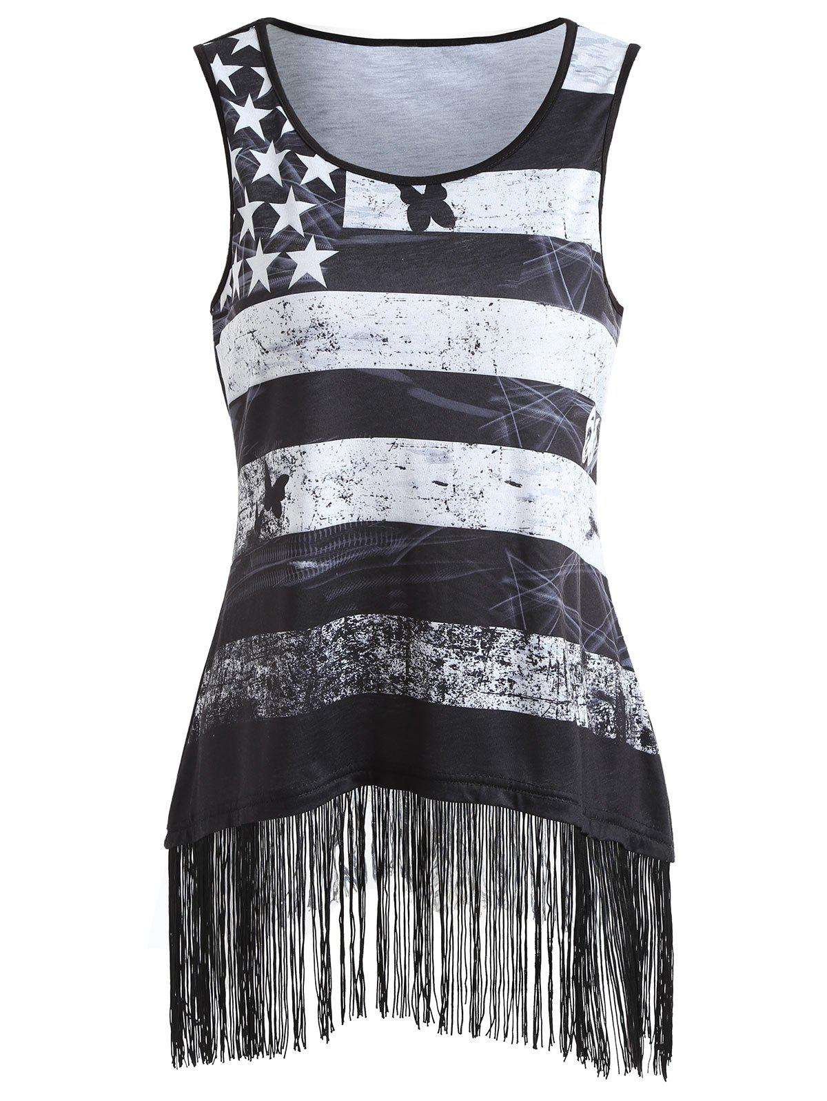 Hot American Flag Fringed Edge Tank Top