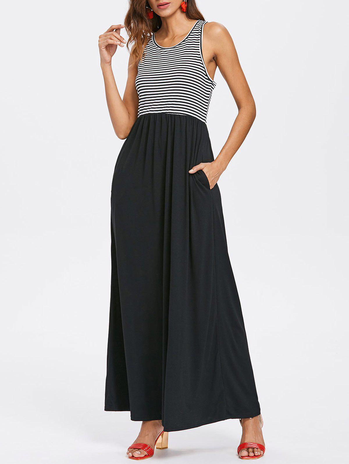 Buy Striped Panel Sleeveless Floor Length Dress