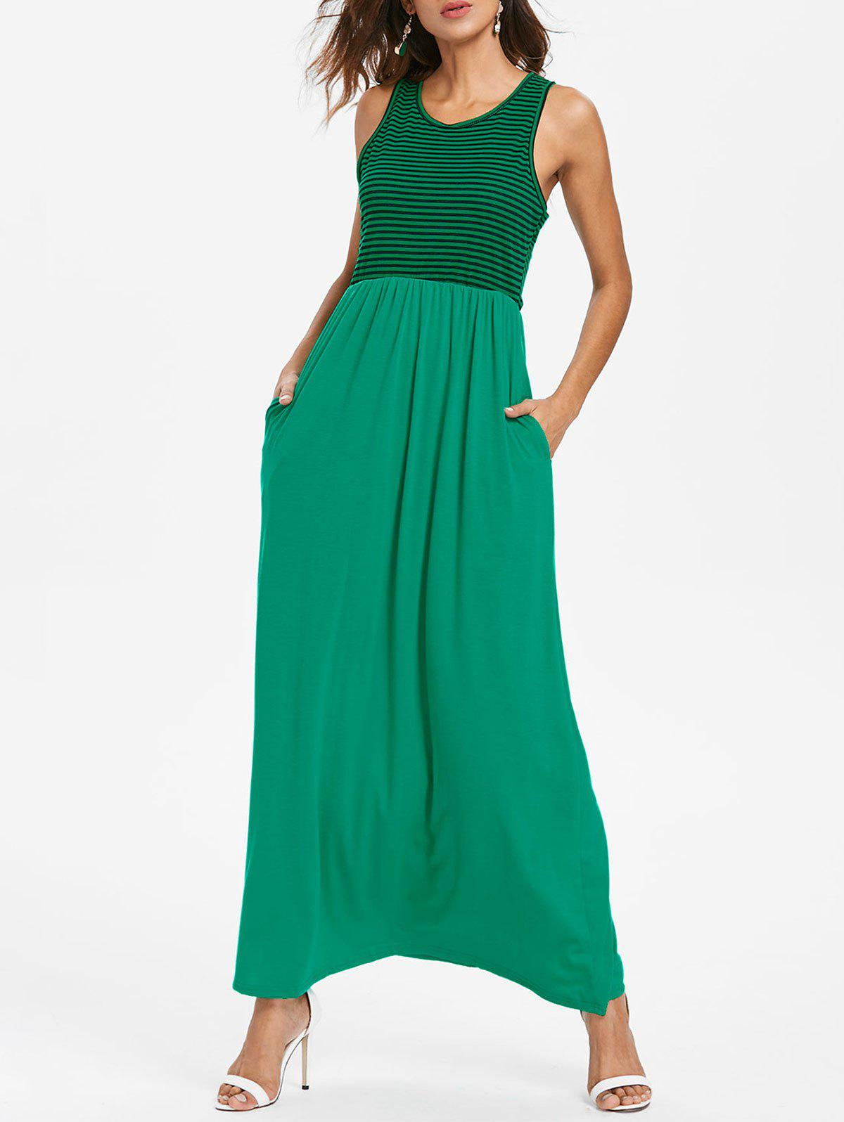 Shops Striped Panel Sleeveless Floor Length Dress