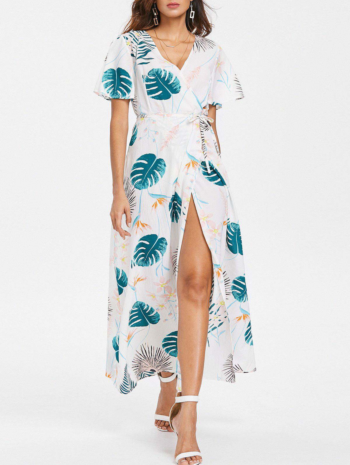 Unique Leaf Printed Slit Sleeve Maxi Dress