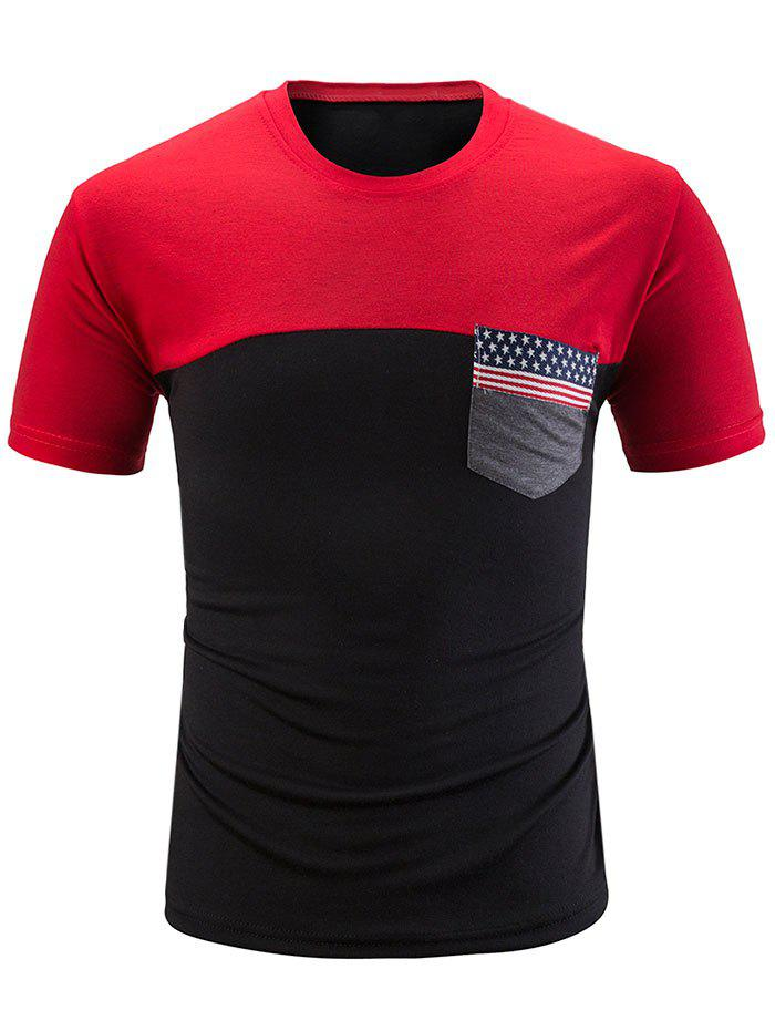 Sale Stars and Stripes Print Contrast Color T-shirt