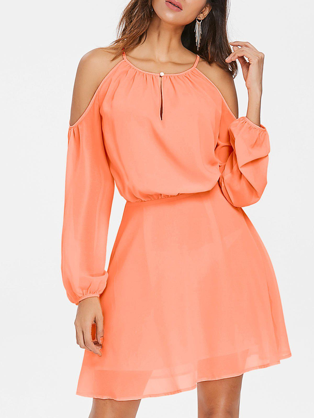Best Shoulder Cut Chiffon Blouson Dress