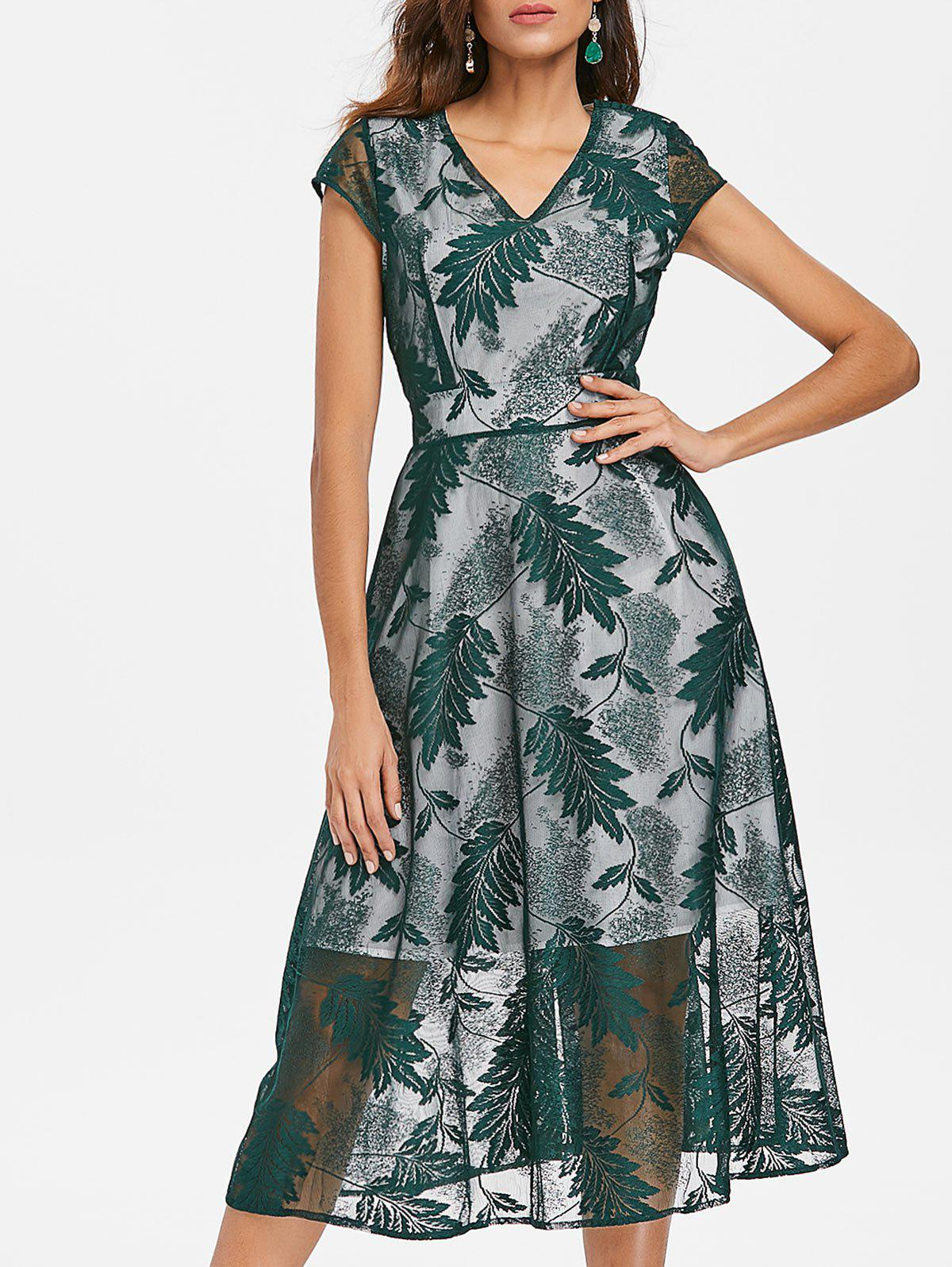 Affordable Leaves Embroidery Midi Flared Dress