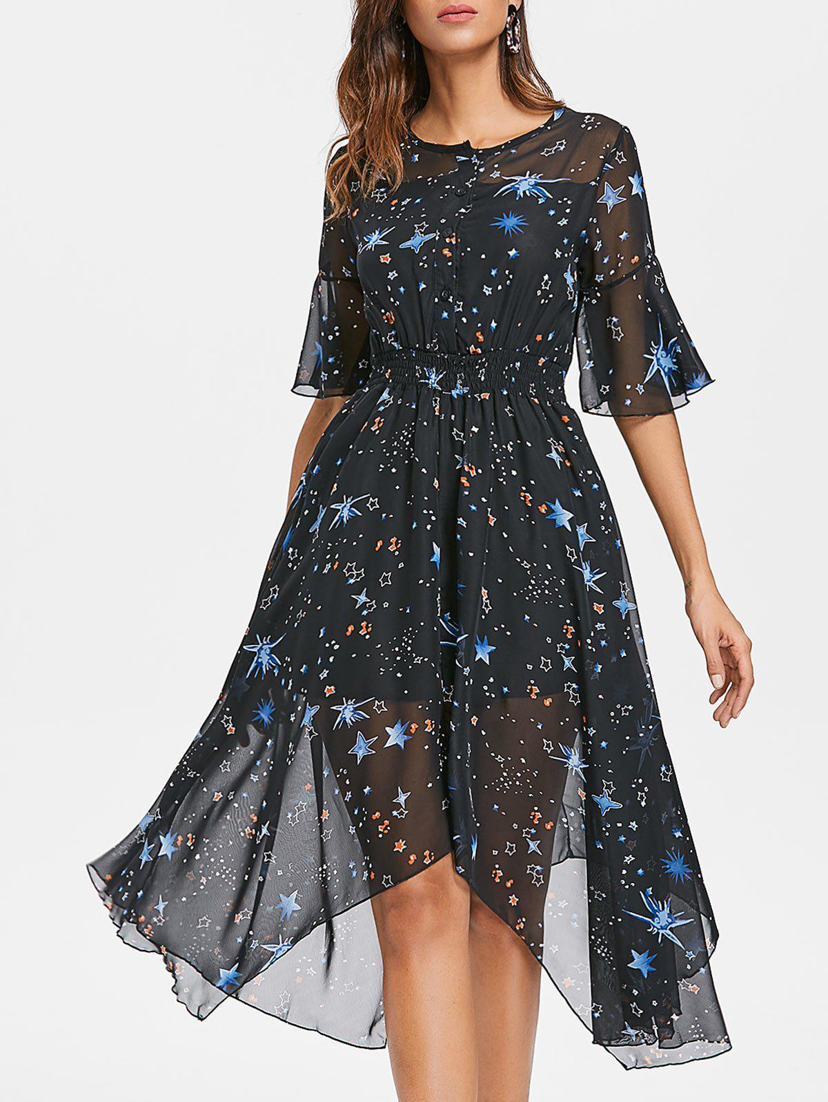 Hot Stars Print Chiffon Midi Handkerchief Dress