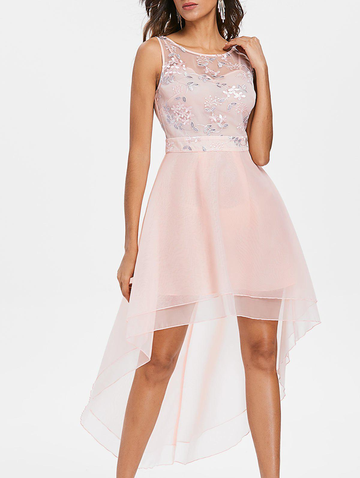 Trendy Floral Embroidery Mesh Layered Asymmetric Dress