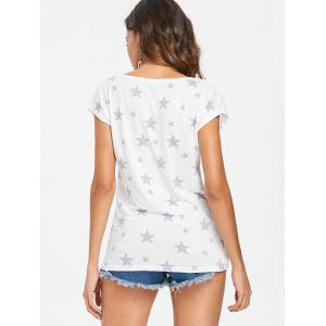 Star Print Scoop Neck T-shirt -