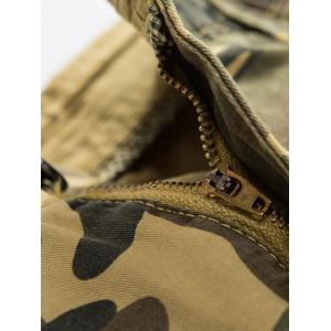 Zipper Fly Camouflage Print Cargo Pants -