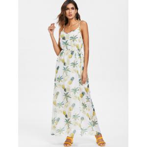 Pineapple Print Chiffon Maxi Dress -