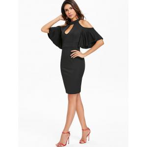 Bodycon Keyhole Neck Open Shoulder Dress -