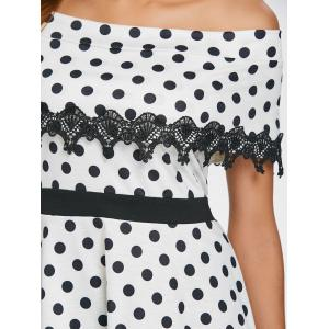Off The Shoulder Polka Dot Flounce Blouse -