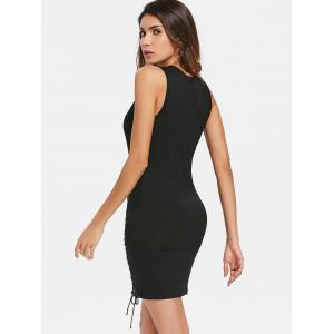 Lace Up Plunging Neckline Bodycon Dress -
